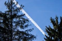 Aeroplane path behind trees Stock Photography