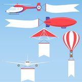 Aeroplane, planes, biplane and hot air balloon. Flat design, vector illustration, vector Royalty Free Stock Images