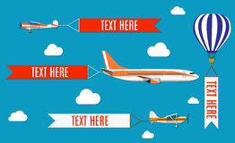 Aeroplane, planes, biplane and hot air balloon. Stock Photo