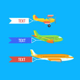 Aeroplane, planes and biplane. Set of colorful flat airplanes. Aeroplane, planes, biplane. Set of colorful flat air transports with cloud. Vector illustration Royalty Free Stock Images