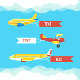 Aeroplane, planes and biplane. Set of colorful flat airplanes with cloud. Royalty Free Stock Images