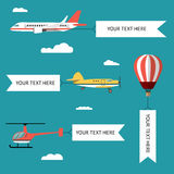 Aeroplane, planes, helicopters, biplane and hot air balloon. Set of colorful flat air transports with cloud. Vector Royalty Free Stock Photography