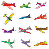 Aeroplane Set_eps. Illustration of aeroplane set on white background Stock Photography