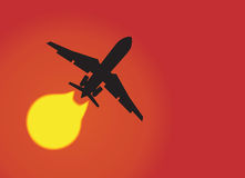 Aeroplane silhouette. Silhouette of a aeroplane passing sun. Vector illustration Stock Images
