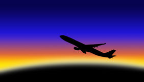 Aeroplane silhouette. A plane in sunset or sunrise Stock Images
