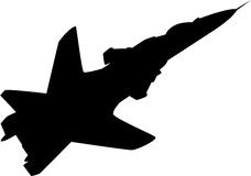Aeroplane Silhouette. Illustration of black aeroplane silhouette, isolated. CY-47 Royalty Free Stock Image