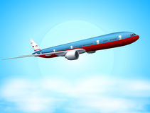 An aeroplane in the sky. Illustration of an aeroplane in the sky Stock Photo