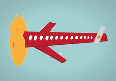 Aeroplane-sun collision Royalty Free Stock Photo