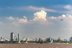 Aeroplane taking off, Buenos Aires City view from the Rio de la Royalty Free Stock Images