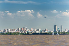 Aeroplane taking off, Buenos Aires City view from the Rio de la Stock Photos