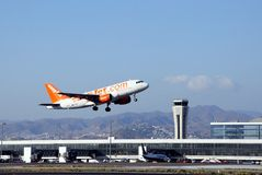 Aeroplane taking off, Malaga airport. Royalty Free Stock Images