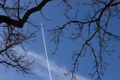 Aeroplane Vapour Trail Stock Photography