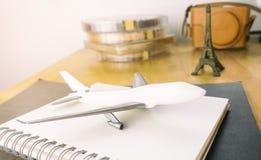 Aeroplane and vintage travel to Paris. Aeroplane and vintage travel equipment to Paris stock photos