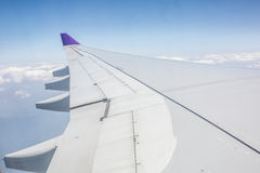 Aeroplane wing. In the sky stock photos