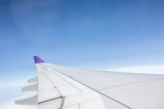 Aeroplane wing. In the sky stock photo