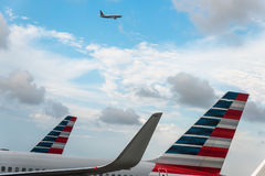 Aeroplanes of American Airlines in the hub. Miami FL USA April 4, 2017: Aeroplanes of American Airlines in the hub Royalty Free Stock Photos