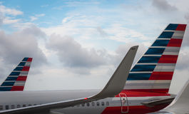 Aeroplanes of American Airlines in the hub. Miami FL USA April 4, 2017: Aeroplanes of American Airlines in the hub Stock Image