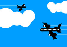 Aeroplanes flying in different directions Stock Image