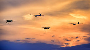 Aeroplanes. In the sunset at air show Stock Photography