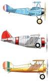 Aeroplani d'annata Insieme di progettazione Vecchi aerei militari di giallo di rosso blu di modo immagine stock