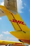 Aeroplani del DHL fotografia stock libera da diritti