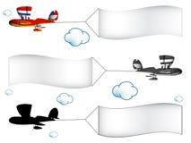 Aeroplani del fumetto con le bandiere Immagini Stock Libere da Diritti