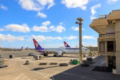 Aeroplani del getto di Hawaiian Airlines all'aeroporto internazionale di Honolulu fotografia stock libera da diritti