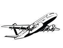 Aeroplano, aereo sul decollo, aereo passeggeri airlines Aeroporto e trasporto di viaggio Affare e classe economica Simbolo Fotografia Stock Libera da Diritti