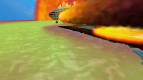 Aeroplano ardiente sobre la isla volcánica almacen de metraje de vídeo