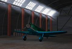 Aeroplano in capannone Fotografie Stock Libere da Diritti
