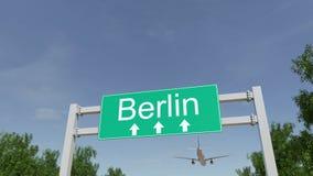 Aeroplano che arriva all'aeroporto di Berlino Viaggiando alla rappresentazione concettuale 3D della Germania Immagine Stock
