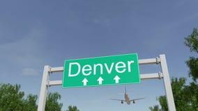 Aeroplano che arriva all'aeroporto di Denver Viaggiando alla rappresentazione concettuale 3D degli Stati Uniti immagine stock
