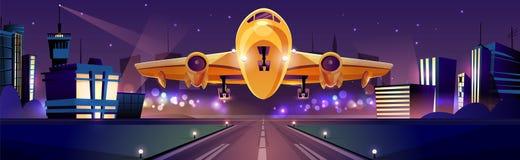 Aeroplano che decolla dal vettore di instabilità dell'aeroporto royalty illustrazione gratis