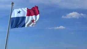 Aeroplano che sorvola bandiera d'ondeggiamento del Panama video d archivio
