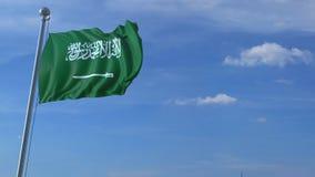 Aeroplano che sorvola bandiera d'ondeggiamento dell'Arabia Saudita archivi video