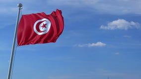 Aeroplano che sorvola bandiera d'ondeggiamento della Tunisia video d archivio