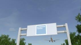 Aeroplano che sorvola il tabellone per le affissioni di pubblicità con Goldman Sachs Group, inc marchio 3D editoriale che rende c illustrazione vettoriale