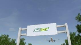 Aeroplano che sorvola il tabellone per le affissioni di pubblicità con il logo del sottopassaggio 3D editoriale che rende clip 4K illustrazione vettoriale