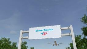 Aeroplano che sorvola il tabellone per le affissioni di pubblicità con il logo della banca di America 3D editoriale che rende cli royalty illustrazione gratis