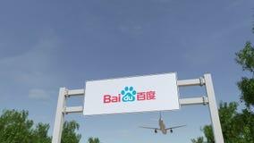 Aeroplano che sorvola il tabellone per le affissioni di pubblicità con il logo di Baidu 3D editoriale che rende clip 4K royalty illustrazione gratis