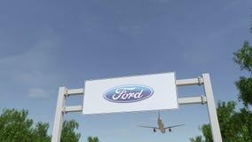 Aeroplano che sorvola il tabellone per le affissioni di pubblicità con il logo di Ford Motor Company 3D editoriale che rende clip royalty illustrazione gratis