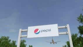 Aeroplano che sorvola il tabellone per le affissioni di pubblicità con il logo di Pepsi 3D editoriale che rende clip 4K illustrazione di stock