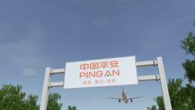 Aeroplano che sorvola il tabellone per le affissioni di pubblicità con il logo di Ping An Centro vago dell'ufficio e fondo di cam illustrazione di stock