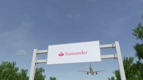 Aeroplano che sorvola il tabellone per le affissioni di pubblicità con il logo di Santander Serfin 3D editoriale che rende clip 4 royalty illustrazione gratis