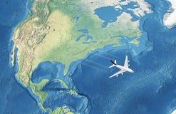 Aeroplano civile bianco sopra l'Atlantico illustrazione vettoriale