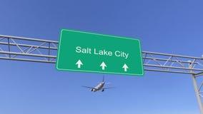 Aeroplano comercial del motor gemelo que llega al aeropuerto de Salt Lake City El viajar a la representación conceptual 3D de Est Fotografía de archivo