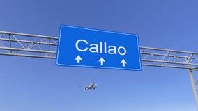 Aeroplano comercial que llega al aeropuerto de Callao El viajar a la representación conceptual 3D de Perú imágenes de archivo libres de regalías