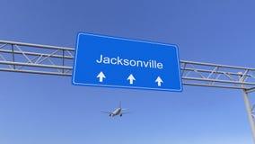 Aeroplano comercial que llega al aeropuerto de Jacksonville El viajar a la representación conceptual 3D de Estados Unidos Imagen de archivo libre de regalías