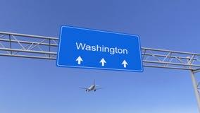 Aeroplano comercial que llega al aeropuerto de Washington El viajar a la representación conceptual 3D de Estados Unidos Foto de archivo libre de regalías