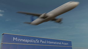 Aeroplano comercial que saca en la representación del St Paul International Airport Editorial 3D de Minneapolis Foto de archivo
